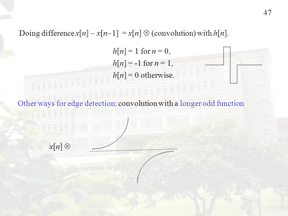 Doing difference x[n]  x[n1] = x[n]  (convolution) with h[n].